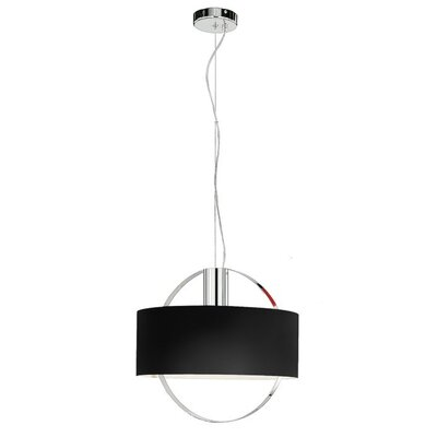 "Zaneen Lighting Ring 18.12"" Pendant with Black Glass in Chrome"