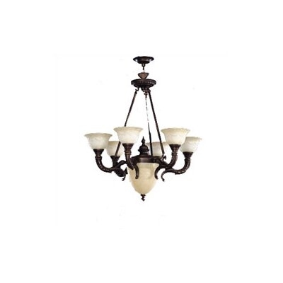 Zaneen Lighting Santos Seven Light Traditional Chandelier in Iron