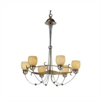 Zaneen Lighting Rimini Six Upward Light Chandelier in Vintage Gold