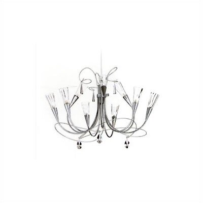 Zaneen Lighting Flute Nine Light Chandelier in Aluminum