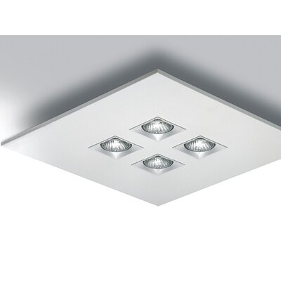 "Zaneen Lighting Polifemo 17.75"" Flush Mount with White Glass"