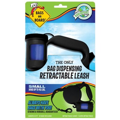 Bags on Board Small Retractable Pet Leash in Black
