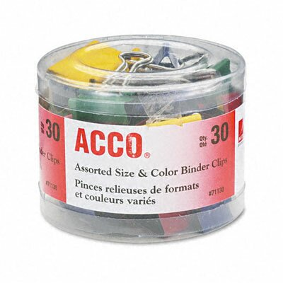 Acco Brands, Inc. Binder Clips, Steel Wire, 1/2, 3/4, 1-1/2, Asst. Colors, 30/Pcs