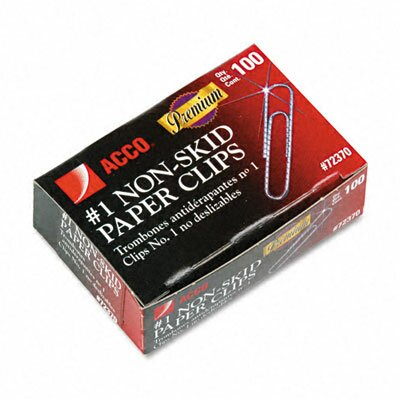Acco Brands, Inc. Nonskid Premium Paper Clips, 100/Box, 10 Boxes/Pack