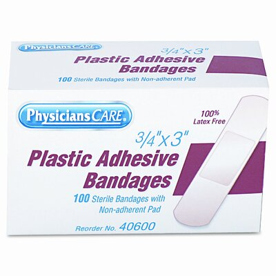Acme United Corporation Plastic Adhesive Bandages, 3/4 x 3, 100 per Box