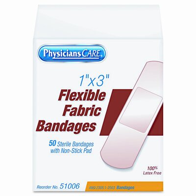 Acme United Corporation Physicianscare First Aid Fabric Bandages, Box of 50