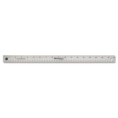 Acme United Corporation Westcott Stainless Steel office Ruler with Non Slip Cork Base, 18""