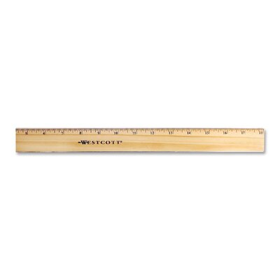 "Acme United Corporation Office Ruler, w/ Brass Edge, 18"" Long, Wood, Natural"