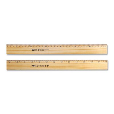 """Acme United Corporation Wood Ruler,Scaled in 16ths/Metric,Double Brass Edge,18"""" L"""