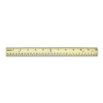 "Acme United Corporation English/Metric Ruler,w/Metal Edge, Punched, 12"" Long, Wood"