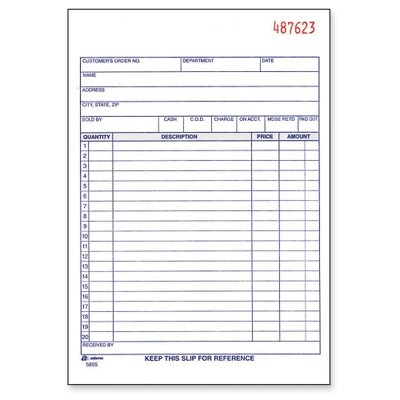 Adams Business Forms Sales Order Book, 3-Part, 2-Part, 5-9/16&quot;x8-7/16&quot;