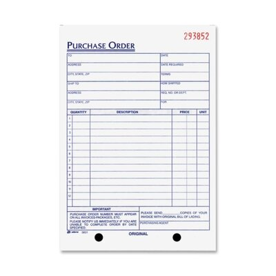 "Adams Business Forms Purchase Order Form, 3-Part, 5-9/16""x8-7/16"""