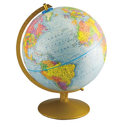 Advantus Corp. 12-Inch Globe with Blue Oceans, Gold-Toned Metal Desktop Base