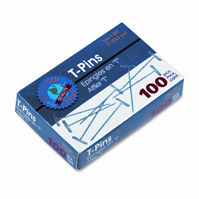 "Advantus Corp. Gem T-Pins, Steel, 2"", 100/Box"