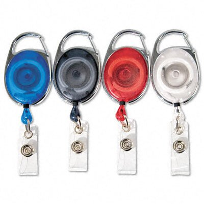 "Advantus Corp. Carabiner-Style Retractable Id Card Reel, 30"" Extension, 20/Pack"