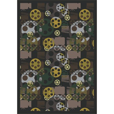 Joy Carpets Gaming and Entertainment Blockbuster Charcoal Novelty Rug