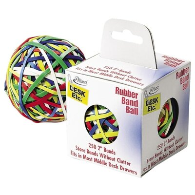 "Alliance Rubber Rubber Band Ball, 2"", 250 Bands, Assorted"