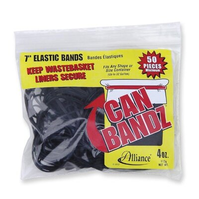 "Alliance Rubber Can Rubber Bands, 7""x1/8"", Fits 13Qt.-32 Gallon, 50 per Pack, Black"