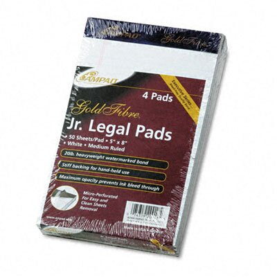 AMPAD Corporation Gold Fibre Ruled Pads, Jr. Legal Rule, 5 X 8, 4 50-Sheet Pads/Pack