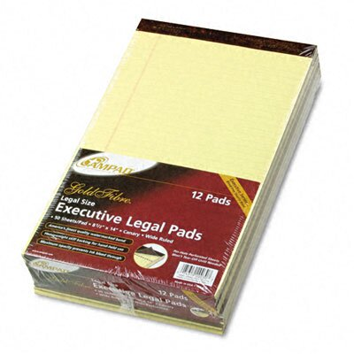 AMPAD Corporation Gold Fibre Writing Pads, Legal/Wide Ruled, Legal, Canary, 50 Sheets, 12-Pack