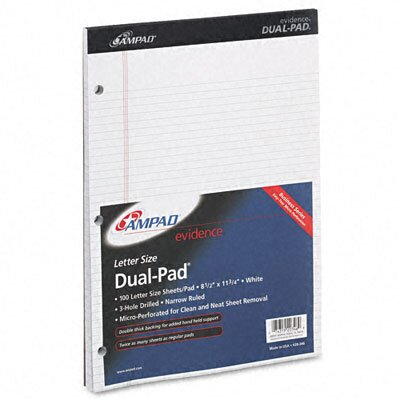 "AMPAD Corporation Evidence Dual Narrow/Margin Ruled Pad, 8-1/2"" x 11-3/4"", White, 100 Sheets"