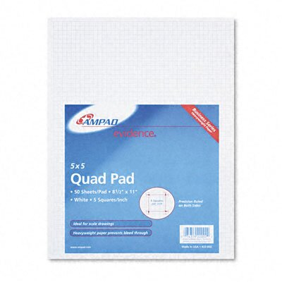 AMPAD Corporation 20lb Quadrille Pad with 5 Squares/Inch, Letter, White, 50 Sheets