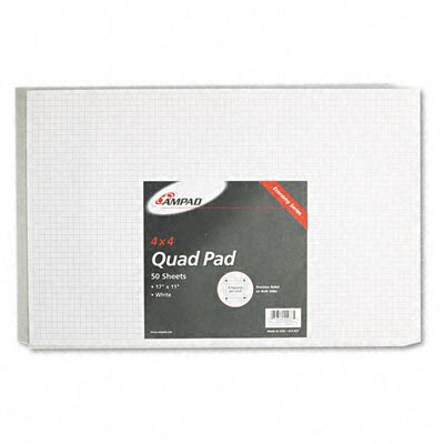 AMPAD Corporation Quadrille Pad, 17 x 11, White, 1, 50-Sheet Pad