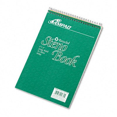 AMPAD Corporation Envirotec Recycled Steno Book, Gregg Rule, 6 X 9, 80 Sheets