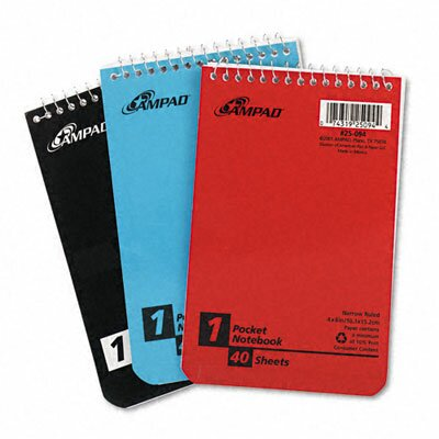 AMPAD Corporation Wirebound Pocket Memo Book, Narrow Rule, 4 X 6, 40-Sheet, 3/Pack