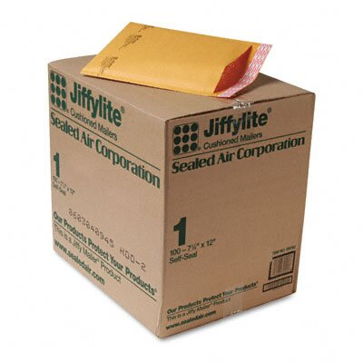 Sealed Air Corporation Jiffylite Self-Seal Mailer, Side Seam, #1, 7 1/4 X 12, 100/Carton