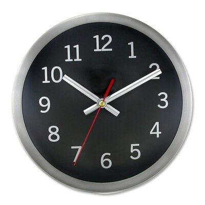 "Artistic Products LLC Wall Clock, 9"" Round, Arabic Numerals, Silver/Black"