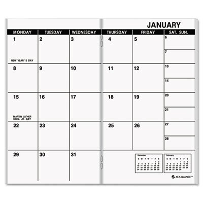 At-A-Glance Deluxe Pocket Monthly Planner Refill, 3-1/2 x 6-1/8, 2013