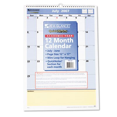 At-A-Glance QuickNotes Monthly Wall Calendar, 12 Month July-June, 12 x 17, 2013