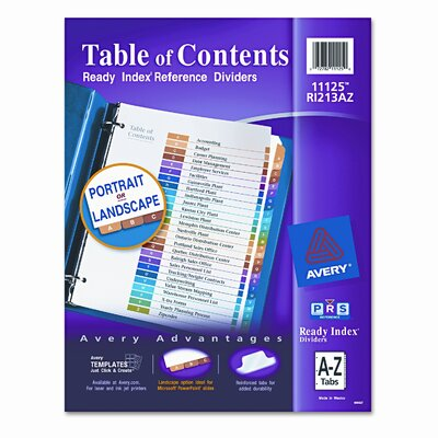Avery Consumer Products Ready Index Contemporary Table of Content Divider