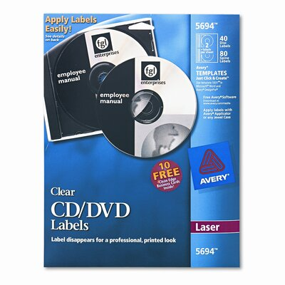 Avery Consumer Products Laser CD/DVD Labels, Glossy Clear, 40/Pack