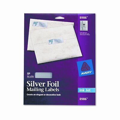 Avery Consumer Products Foil Mailing Labels, 3/4 X 2-1/4, 300/Pack