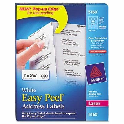 Avery Consumer Products Easy Peel Laser Address Labels, 3000/Box