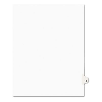 Avery Consumer Products Avery-Style Legal Side Tab Divider, Title: 47, Letter, White, 25 per Pack