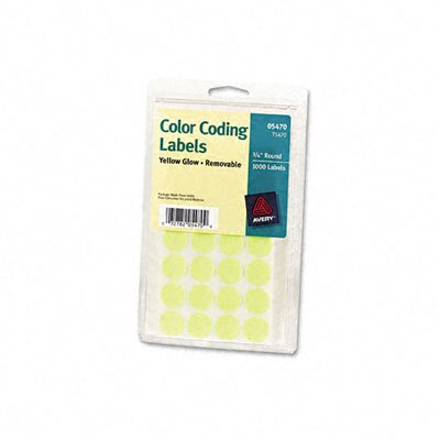 Avery Consumer Products Self-Adhesive Removable Labels, 3/4in dia, Yellow Neon, 1008/Pack