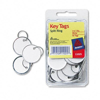 Avery Consumer Products Metal Rim Key Tags, Card Stock/Metal, White, 50 per Pack