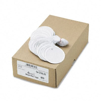 "Avery Consumer Products Metal Rim Marking Tags, Paper/Twine/Metal, 2-1/4"" Diameter, White, 500 per Box"