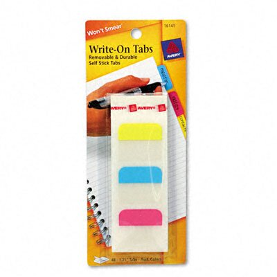 Avery Consumer Products Self-Adhesive Write-On Index Tabs, 1-1/4in, Blue/Magenta/Yellow, 48/pack