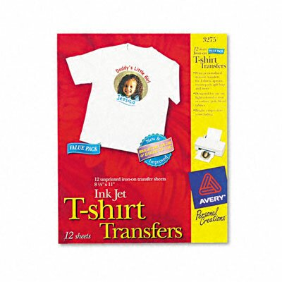 Avery Consumer Products Personal Creations Inkjet T-Shirt Transfer, 8-1/2 X 11, 12/Pack