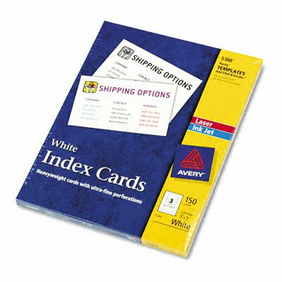 Avery Consumer Products Laser/Inkjet Unruled Index Cards, 150/Box