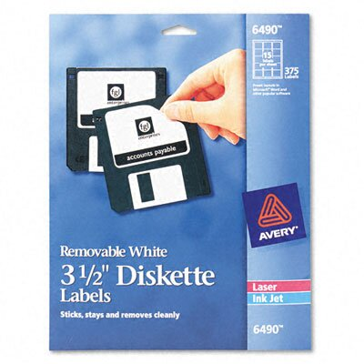 Avery Consumer Products 6490 Laser/Inkjet Diskette Labels, 375/Pack