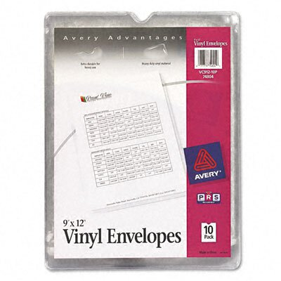 Avery Consumer Products Top-Load Clear Vinyl Envelopes w/Thumb Notch, 9 x 12 Insert Size, 10/pack
