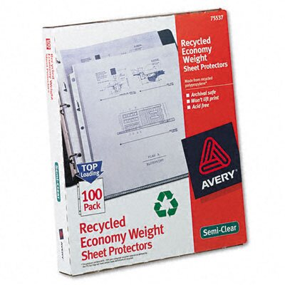 Avery Consumer Products Top-Load Recycled Polypropylene Sheet Protector, 100/Box