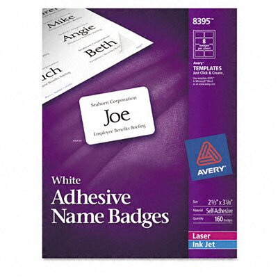 Avery Consumer Products Flexible Self-Adhesive Laser/Inkjet Name Badge Labels (160/Pack)