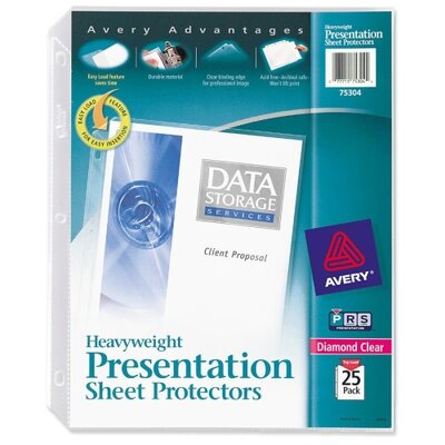 "Avery Consumer Products Sheet Protector, Heavyweight, 8-1/2""x11"", 25/BX, Clear"
