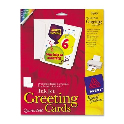 "Avery Consumer Products Quarter-Fold Card, 4-1/4""x5-1/2"", 20 Cards/Env, White"